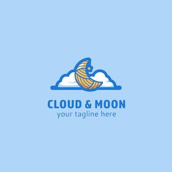 Облака и луна логотип значок символ иллюстрация милый причудливый фэнтезийный стиль логотип
