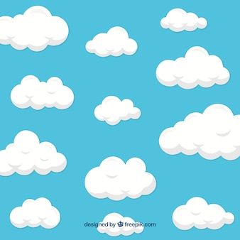 フラットデザインの雲の背景