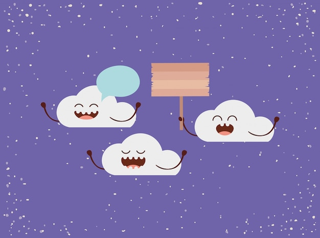 Clouds characters with speech bubble and label earth day celebration