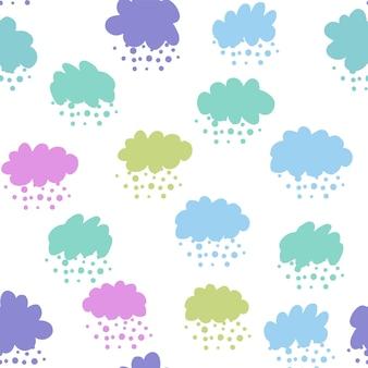 カラフルなシームレスパターンを雲します。雨の背景。天気の背景。壁紙、背景、スクラップブックのテクスチャ。ベクトルイラスト