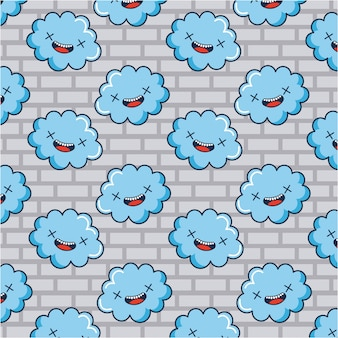Clouds doodle pattern