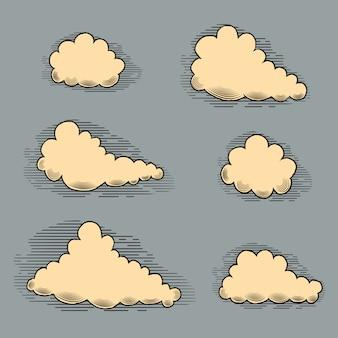 Clouds engraving vintage elements for design.