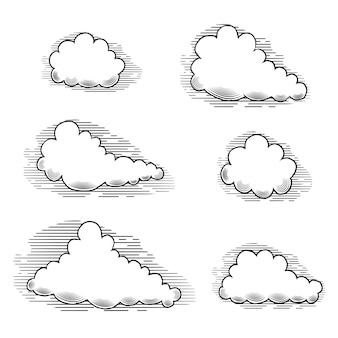 Clouds engraving vintage elements for design.