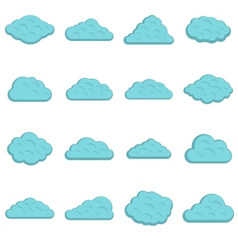 Clouds icons set in flat style