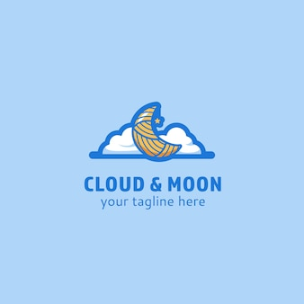 Clouds and moon logo icon symbol illustration cute whimsical fantasy style logo