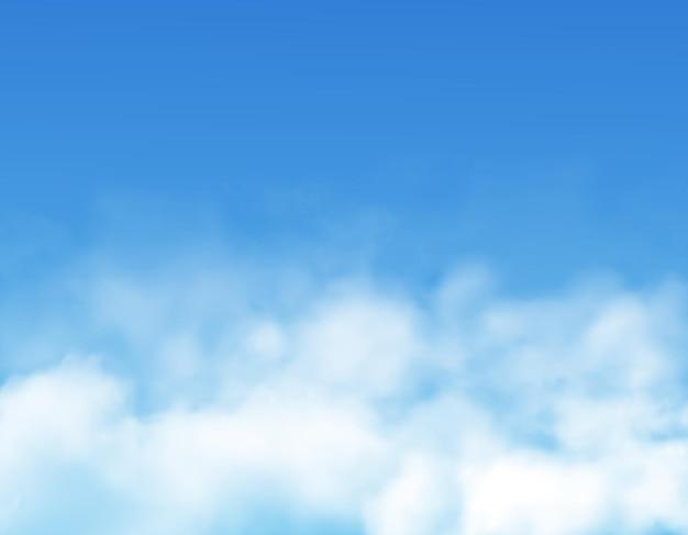 現実的な青空の背景に雲や霧