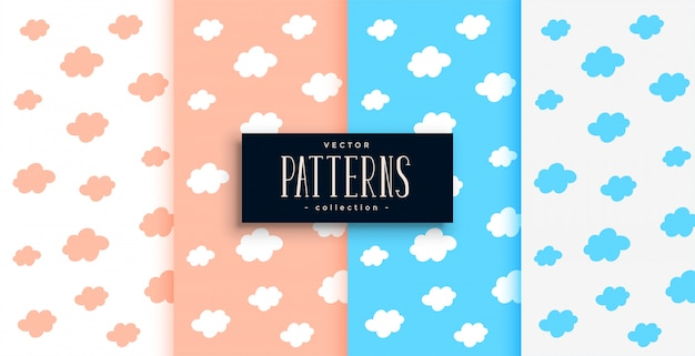 Clouds pattern set in pink and blue shades