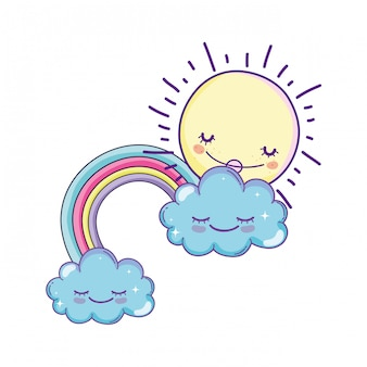 Clouds and rainbow cartoon