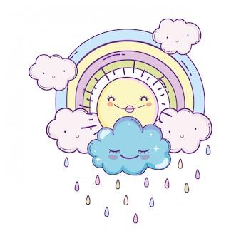 Clouds and rainbow cartoon