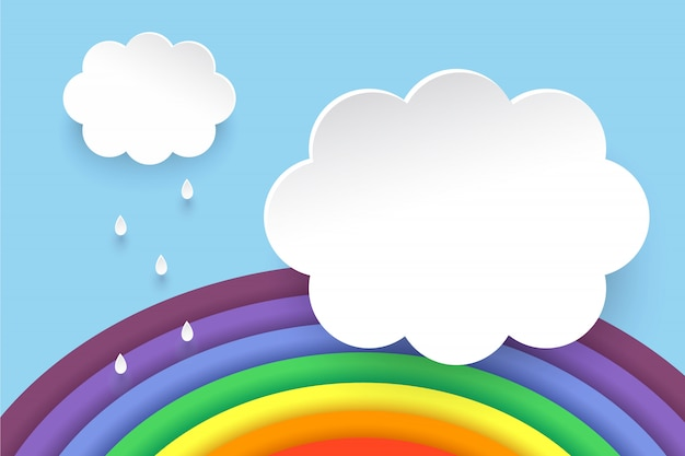 Clouds and rainbow in paper art style