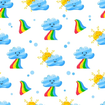 Clouds, rainbow, and sun seamless pattern design with flat hand drawn style