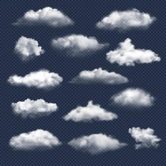 현실적인 구름. 자연 하늘 날씨 기호 비 또는 눈 구름 벡터 컬렉션