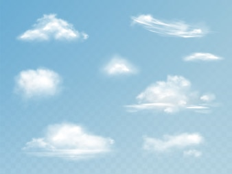 Clouds realistic set illustration of translucent cloudy sky with fluffy clouds