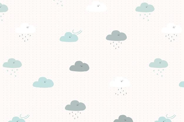 子供のための雲のシームレスなパターンの背景ベクトルかわいい落書き