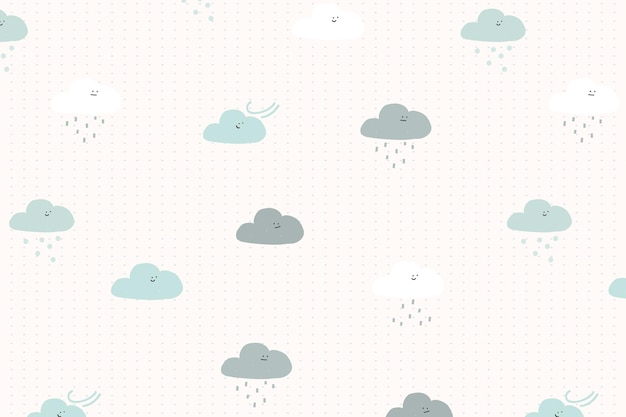 Clouds seamless pattern background vector cute doodle for kids