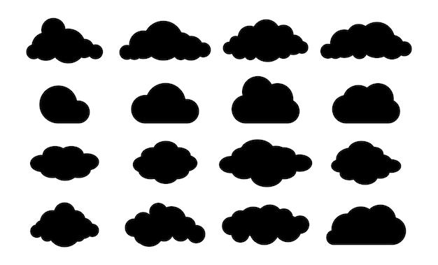 구름 실루엣입니다. 클라우드 플랫 스타일 집합입니다. 천국 로고. 일기 예보 모양의 벡터 집합입니다. 다양한 형태의 하늘