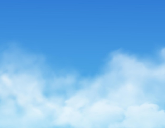 Clouds in sky, realistic cloudy air Premium Vector