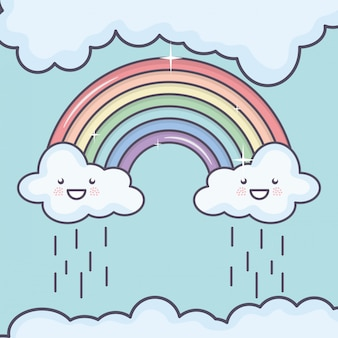 Clouds sky with rainbow weather kawaii characters