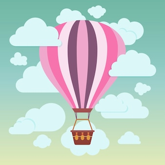 Clouds and striped hot air balloon on a blue background
