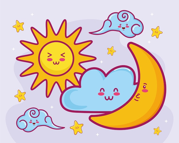 Clouds sun and moon