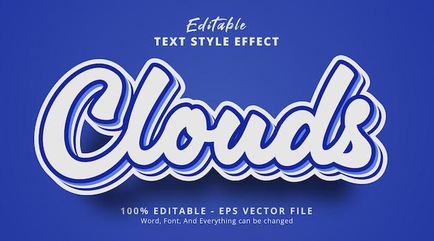 연한 파란색 텍스트 효과의 구름 텍스트, 편집 가능한 텍스트 효과