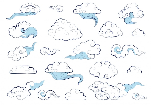 Clouds in traditional chinese style. big set of weather elements clouds, fog, cloudlet, wind