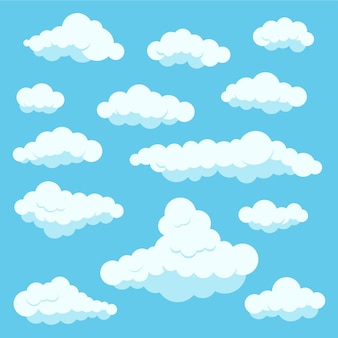 Clouds white color icon set isolated on blue heaven background