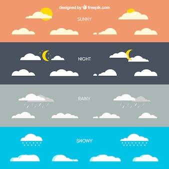 Clouds with different weather conditions