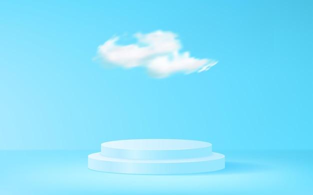 파란색 배경 벡터 디자인에 제품 단계 디스플레이가 있는 구름