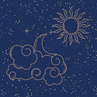 Облака с солнцем и луной