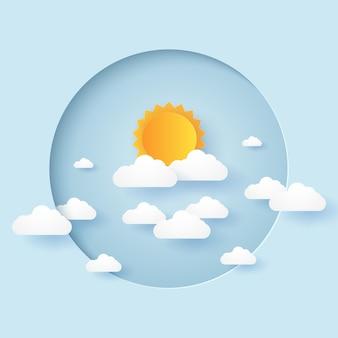 Cloudscape, 원형 프레임에 구름과 태양이 있는 푸른 하늘, 종이 아트 스타일