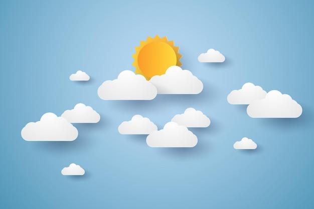 Cloudscape, 구름과 태양이 있는 푸른 하늘, 종이 예술 스타일