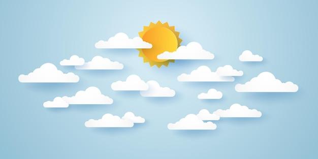 雲景、雲と太陽と青い空、ペーパーアートスタイル