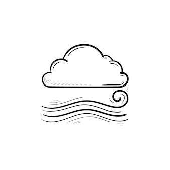 Облачно и ветер дует рисованной наброски каракули значок. прохладная и ветреная погода, шторм и водоворот