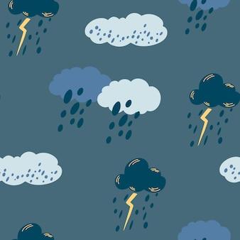 曇り雨空のシームレスなパターン。雷雨、雷、雨で青い雲を手描きします。テキスタイル、ファブリック、壁紙、包装紙、デザイン、装飾用のベクタープリント。