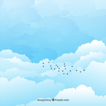 Cloudy sky background in flat design