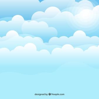 평면 스타일에 흐린 하늘 배경