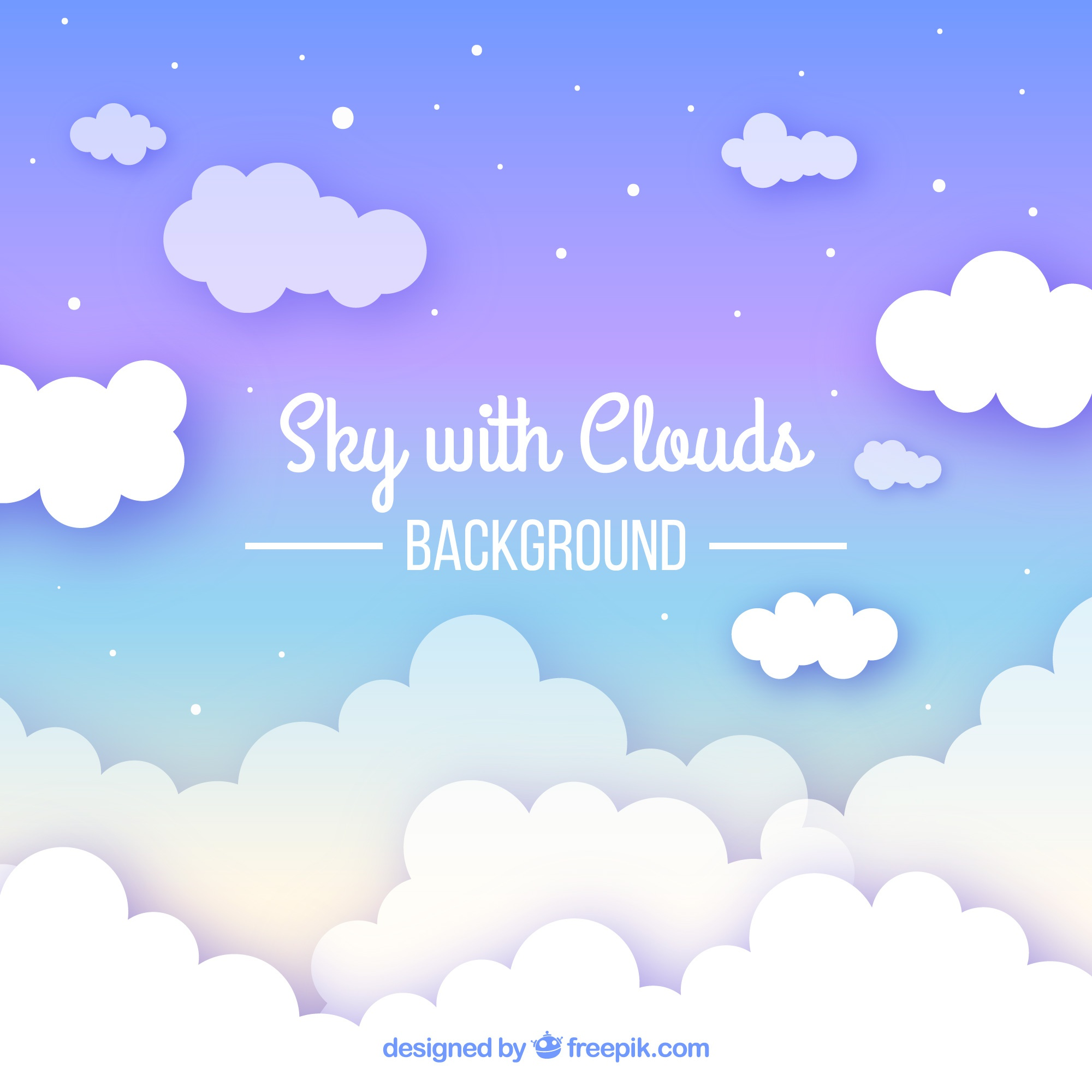 Cloudy sky background in flat style
