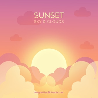 Cloudy sky background with big sun in flat style