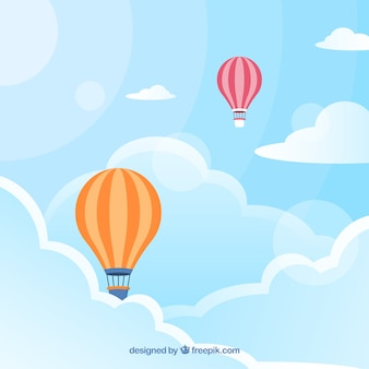 Cloudy sky background with colorful balloons flying