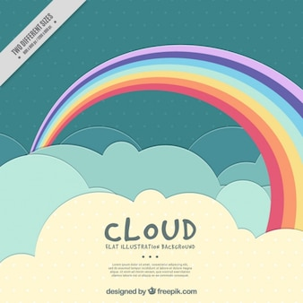 Cloudy sky background with a pretty rainbow