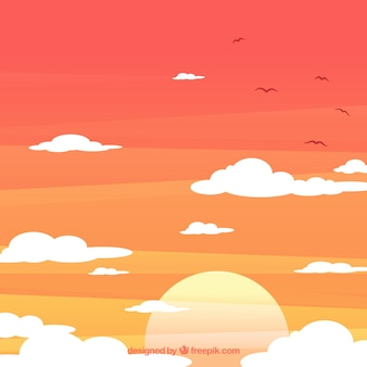 Cloudy sky background with sun and birds in flat style