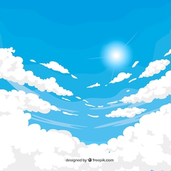 Cloudy sky background with sun in flat style