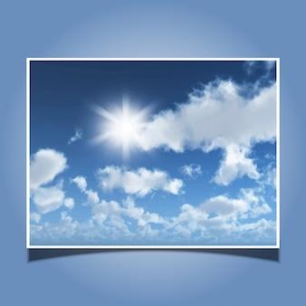 Sfondo vettoriale dettagliata di un cielo azzurro pieno di sole con le nubi