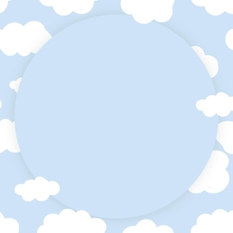 Cloudy sky frame vector in cute pastel pattern