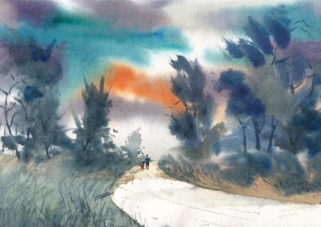 자연 수채화와 흐린 하늘