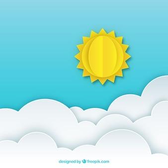 Cielo nuvoloso con il sole in stile carta