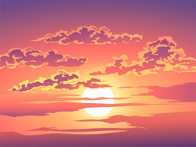 Cloudy sunset sky illustration
