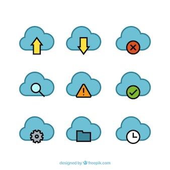 Clound computer concept blue stickers
