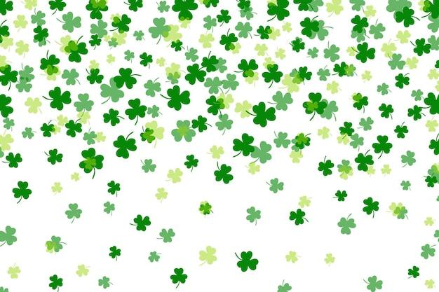 クローバーの葉フラットデザイン緑の背景背景パターンベクトル図
